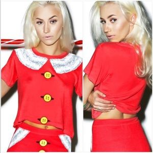 Like New Wildfox Mrs. Claus Crop Tee
